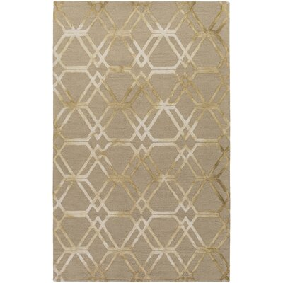 Viminal Hand-Hooked Khaki Area Rug Rug Size: Rectangle 4 x 6
