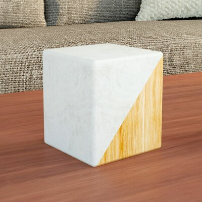 Marble and Wood Split Cube Sculpture