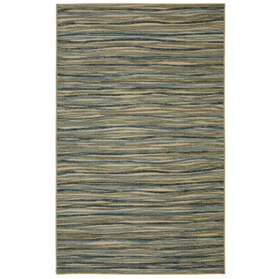 Caroga Melody Stripe Cool Blue/Tan Area Rug Rug Size: Rectangle 76 x 10
