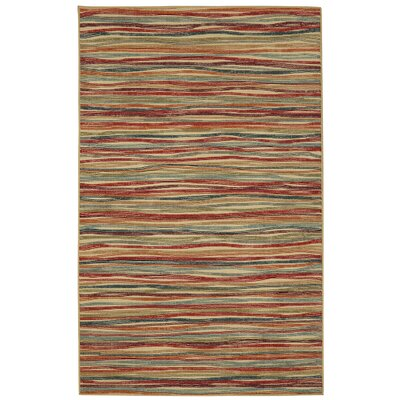 Caroga Melody Stripe Brown/Red Area Rug Rug Size: 5 x 7