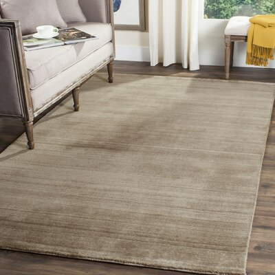 Aghancrossy Hand-Loomed Taupe Area Rug Rug Size: Rectangle 6 x 9