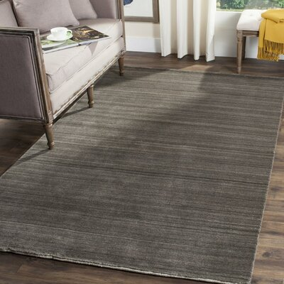 Aghancrossy Hand-Loomed Charcoal Area Rug Rug Size: Rectangle 6 x 9