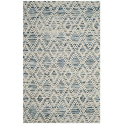 Alexandria Hand-Woven Dark blue/Ivory Area Rug Rug Size: Rectangle 6 x 9