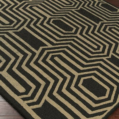 Carlton Hand Woven Wool Black/White Area Rug Rug Size: Rectangle 5 x 8