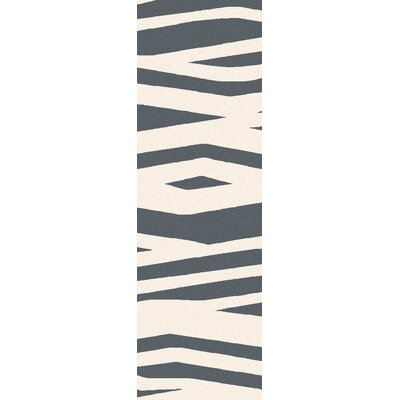 Tobia Ivory/Charcoal Gray Animal Print Area Rug Rug Size: 2 x 3