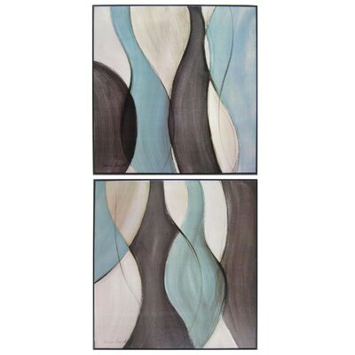 'Silky Blues' 2 Piece Framed Painting Print Set