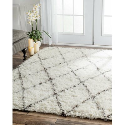 Langley Street West Hand-woven Moroccan Shag Ivory Area Rug