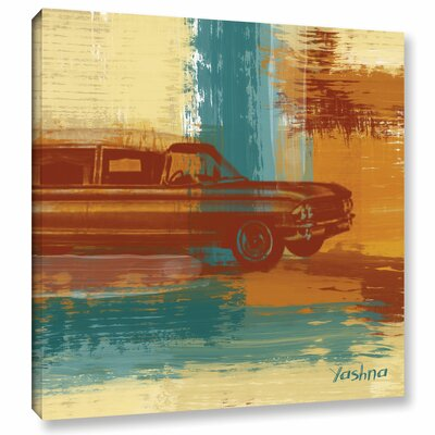 Langley Street Red Retro Car Painting Print on Wrapped Canvas
