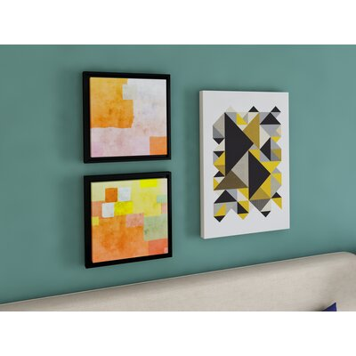 Abstract Squares III Framed Painting Print on Wrapped Canvas