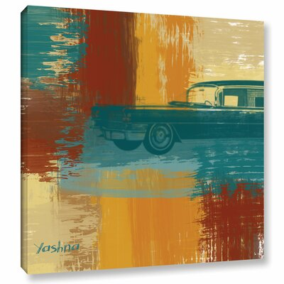 'Blue Retro Car' Painting Print on Wrapped Canvas Size: 10