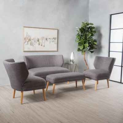 Raleigh 3 Piece Living Room Set Upholstery: Light Gray