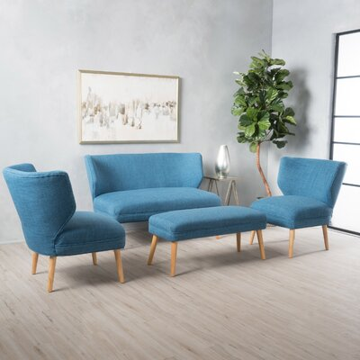 Raleigh 3 Piece Living Room Set Upholstery: Blue