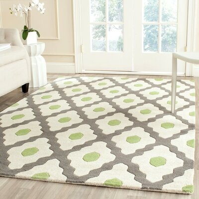 Ellicott Hand-Tufted Gray/Ivory Area Rug Rug Size: Square 5