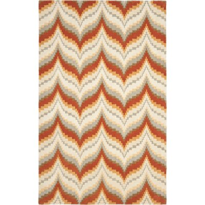 Wildfire Hand-Loomed Red/Brown Area Rug Rug Size: Round 4