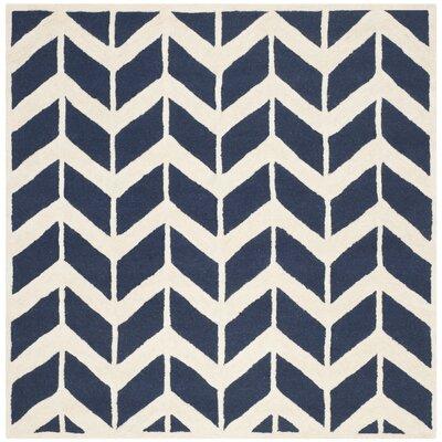 Esperance Navy / Ivory Area Rug Rug Size: Square 6