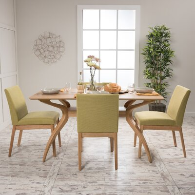 Tunis 5 Piece Dining Set Table Finish: Natural Oak, Chair Finish: Green Tea