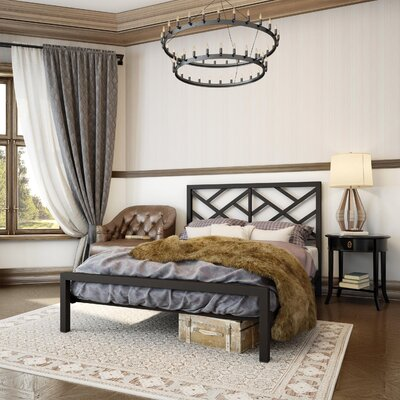 Rex Open-Frame Headboard Finish: Textured Dark Brown, Size: Queen