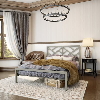 Palm Hills Open-Frame Headboard Size: Full, Finish: Matte Light Grey
