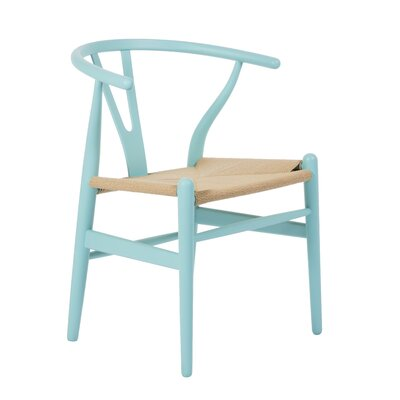 Villa Court Wishbone Arm Chair Finish: Blue