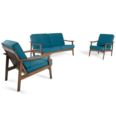Fontana 3 Piece Living Room Set Color: Blue