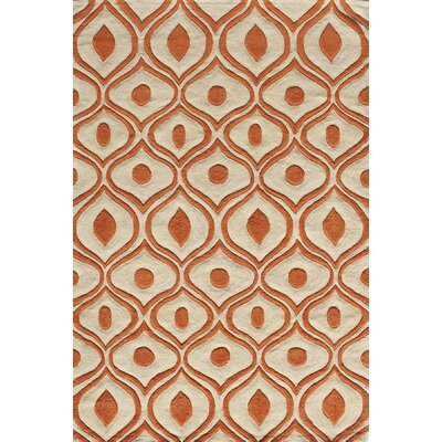 Ella Hand-Tufted Orange Area Rug Rug Size: 36 x 56