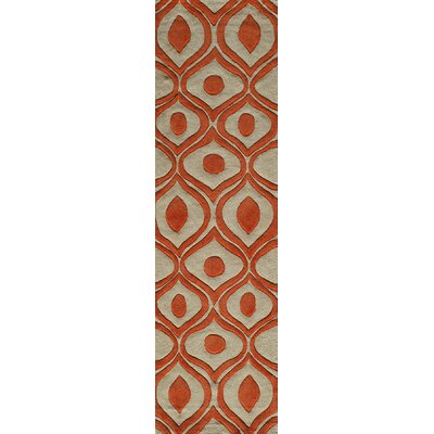 Ella Hand-Tufted Orange Area Rug Rug Size: Runner 23 x 8