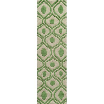 Ella Hand-Tufted Green Area Rug Rug Size: Runner 23 x 8