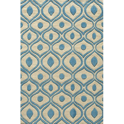Ella Hand-Tufted Blue/Cream Area Rug Rug Size: Rectangle 36 x 56