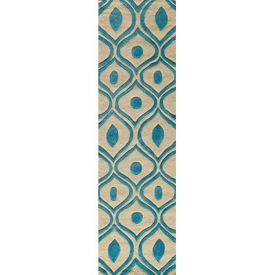Ella Hand-Tufted Blue/Cream Area Rug Rug Size: Runner 23 x 8