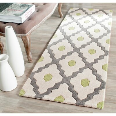 Ellicott Hand-Tufted Gray/Ivory Area Rug Rug Size: Runner 23 x 7