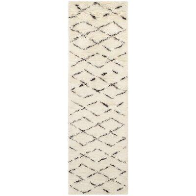 Bermondsey Ivory Shag Area Rug Rug Size: Runner 23 x 12