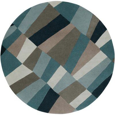 Carlotta Dried Oregano/Sea Blue Area Rug Rug Size: Round 8