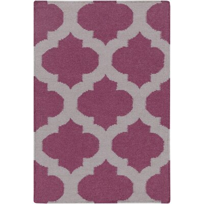 Hackbarth Hand-Woven Raspberry Wine/Gray Area Rug Rug Size: 2 x 3