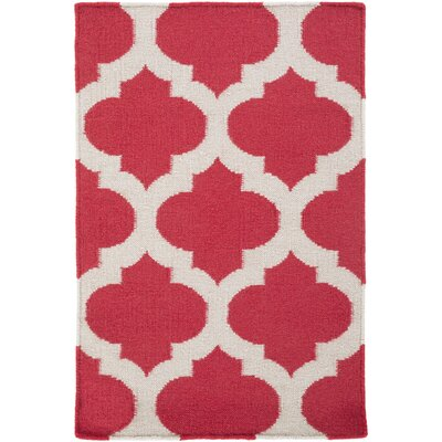 Hackbarth Hand-Woven Red/White Area Rug Rug Size: 5 x 8