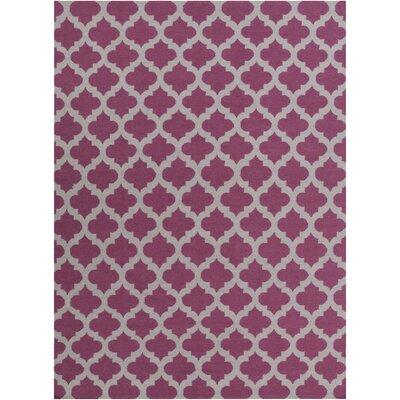 Hackbarth Hand-Woven Raspberry Wine/Gray Area Rug Rug Size: 8 x 11