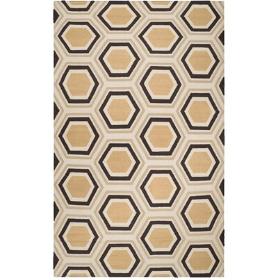 York Chocolate/Beige Area Rug Rug Size: 2 x 3