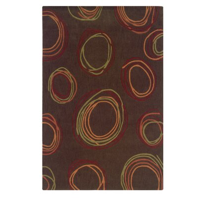 Bumpus Hand-Tufted Chocolate/Rust Area Rug Rug Size: 110 x 210