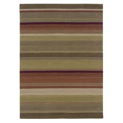 Palmer Hand-Tufted Green/Rust Area Rug Rug Size: 5 x 7