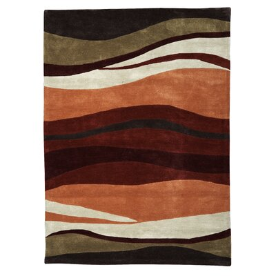 Allport Hand-Tufted Garnet/Orange Area Rug Rug Size: 110 x 210