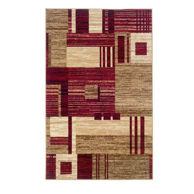 Allmon Red/Beige Area Rug Rug Size: 43 x 73