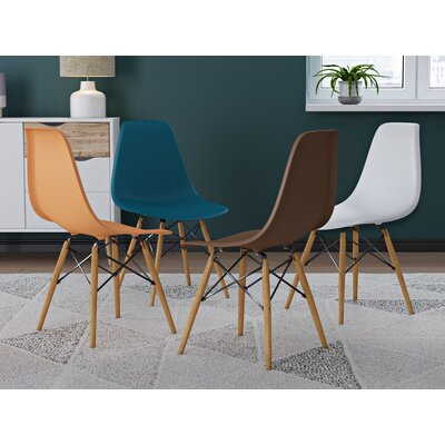 Coleford Solid Wood Dining Chair Upholstery: Orange