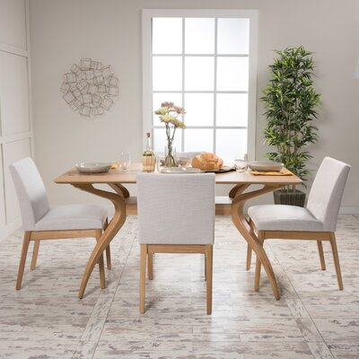 Tunis 5 Piece Dining Set Table Finish: Natural Oak, Chair Finish: Light Beige