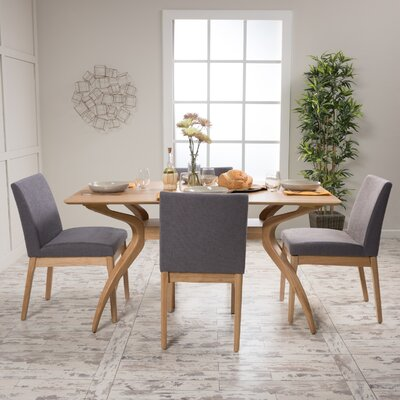 Tunis 5 Piece Dining Set Table Finish: Natural Walnut, Chair Finish: Light Beige