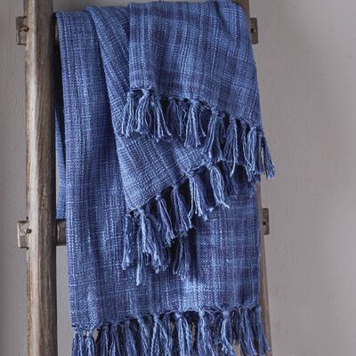Carclunty Cotton Throw Blanket Color: Cobalt / Navy