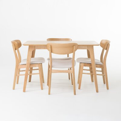 Canning 5 Piece Dining Set Chair Finish: Light Beige, Table Finish: Natural Oak