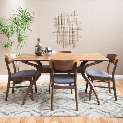 Canning 5 Piece Dining Set Table Finish: Natural Walnut, Chair Finish: Dark Gray