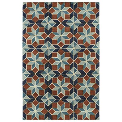 Dresden Hand Tufted Brown/Blue Area Rug Rug Size: 36 x 56