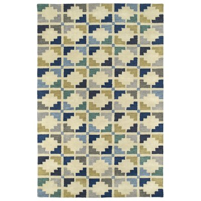 Dresden Hand Tufted Blue/Beige Area Rug Rug Size: Rectangle 36 x 56