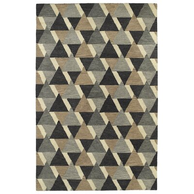 Dresden Hand Tufted Gray/Brown Area Rug Rug Size: 36 x 56