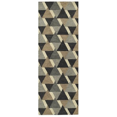Dresden Hand Tufted Gray/Brown Area Rug Rug Size: Runner 26 x 8